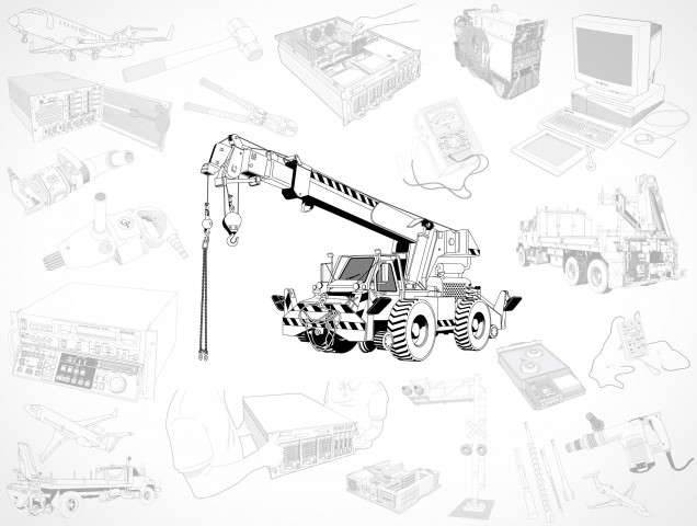 Crane Drill Server Computer Truck Airplane Stock Vector EPS