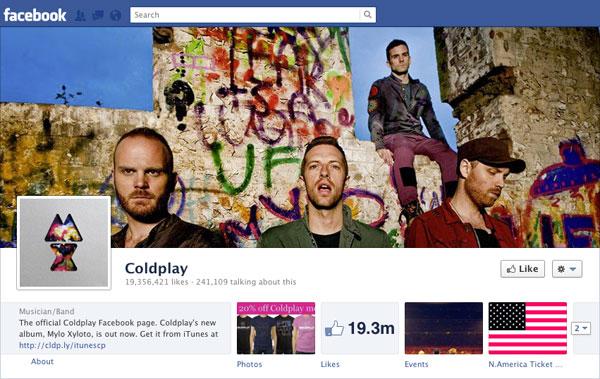 Facebook Brand Timeline Coldplay