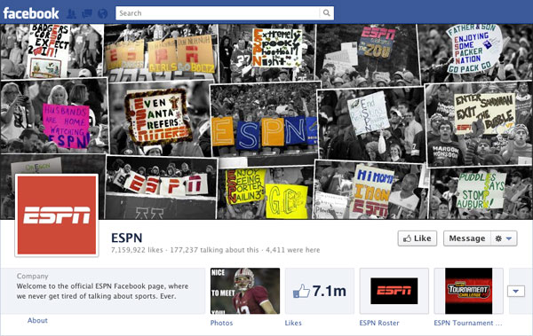Facebook Brand Timeline ESPN Sports Center
