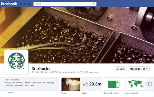 Facebook Brand Timeline Starbucks