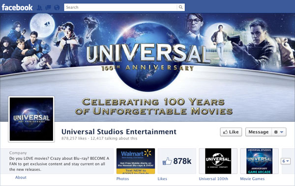 Facebook Brand Timeline Universal Studios