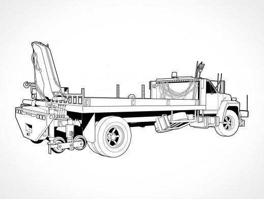 Sidelift Crane Truck Vector EPS