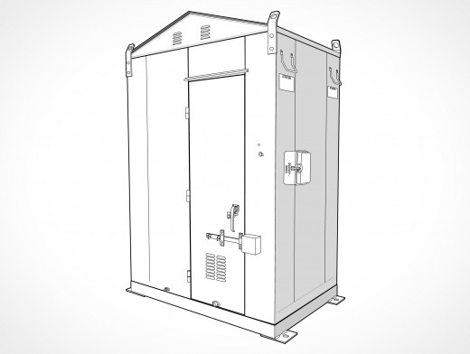 Metal Bungalow Tool Maintenance Shed Vector EPS