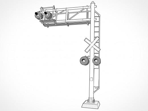Cantilever Rail Signal Vector EPS