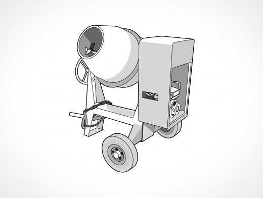 Concrete Cement Mixer Vector EPS