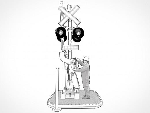 Level Crossing Signal Lights Pole Mast Vector EPS