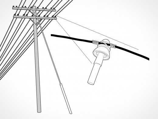 Guy Wire Electrical Post Vector EPS