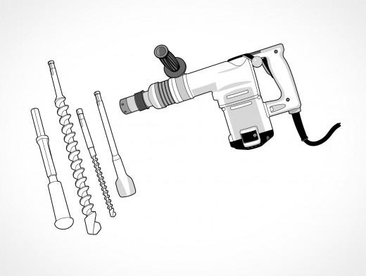 Hammer Drill Vector EPS