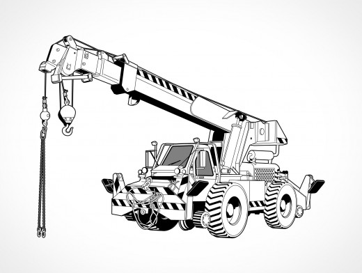 Rough All Terrain Crane Vector EPS