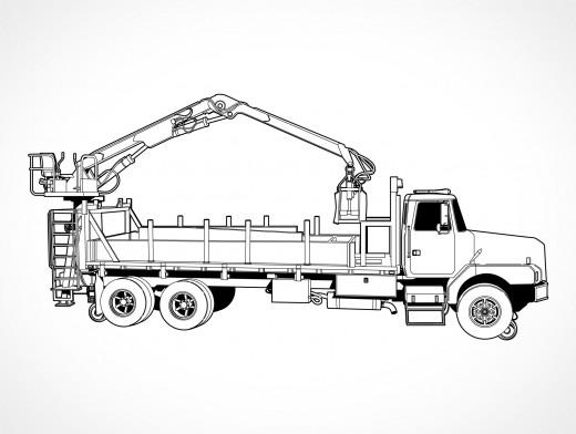 Sidelifter Crane Truck Vector EPS