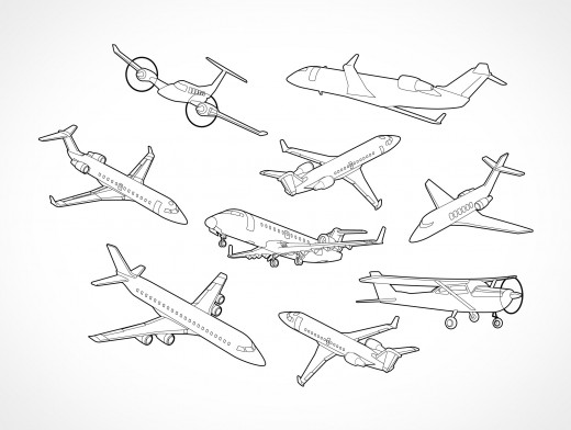 Aircraft Airplane Flight Positions Vector EPS