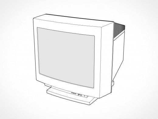 CRT Cathode Ray Tube Computer Monitor Vector EPS
