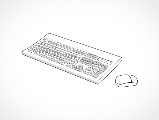 SGI Computer Keyboard and Mouse Vector EPS