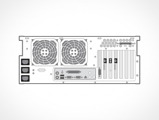 Supermicro Back View Vector EPS