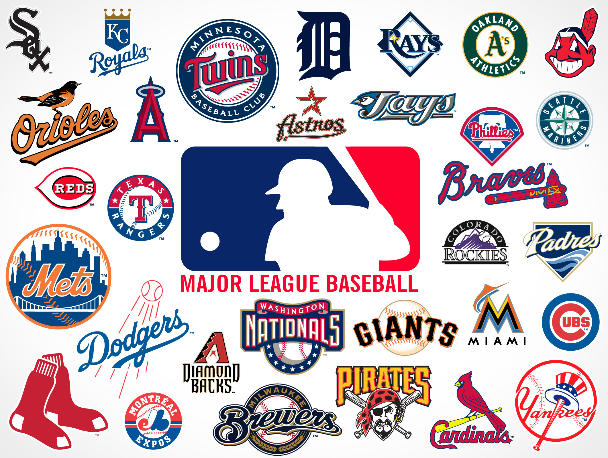 Major League Baseball Team Logos • Market Your PSD Mockups ...