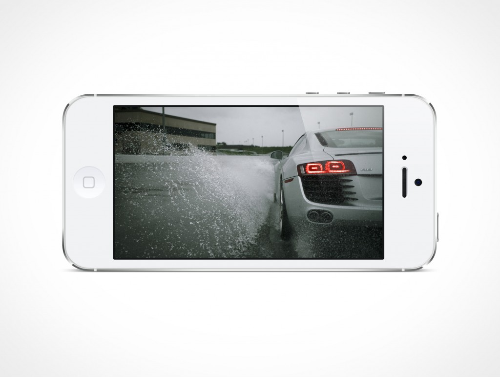 White iPhone5 Landscape PSD Mockup Cover Action