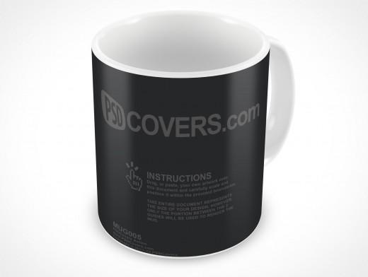 PSD Mockup Ceramic Mug Cover Action Template