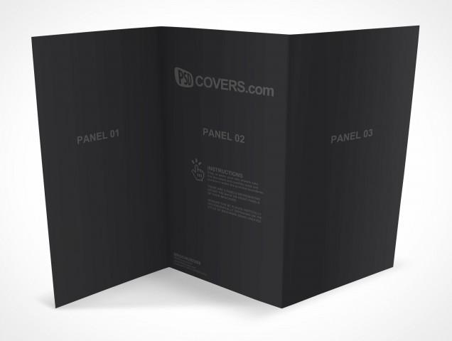 PSD Mockup 3 Panel Tri Fold Brochure Horizontal Flyer Leaflet 13x8.5