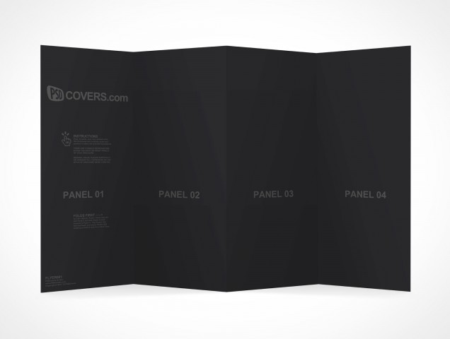 PSD Mockup Template 4 Panel Accordion Flyer Brochure