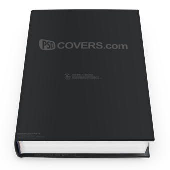 PSD Mockup hardcover laying on flat surface