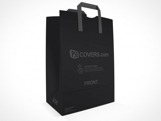 PSD Mockup Shopping Grocery Paper Bag quarter view