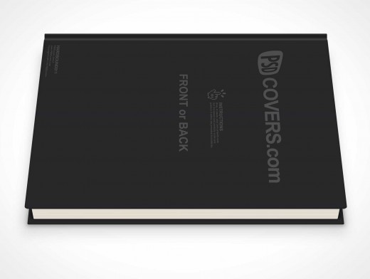 psdcovers laying down 90° hardbound book mockup